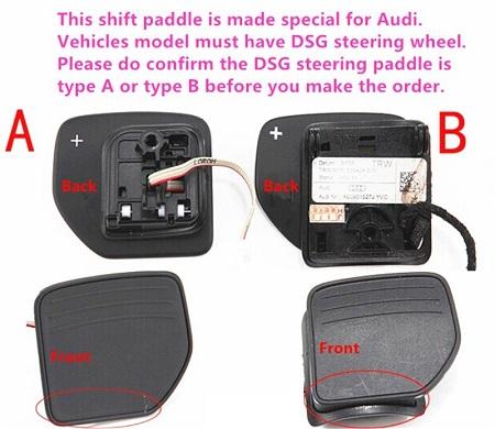 audi type a type b paddles