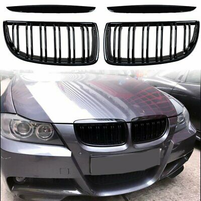 Pair-Gloss-Black-Double-Line-Kidney-Grill-Grille-_1